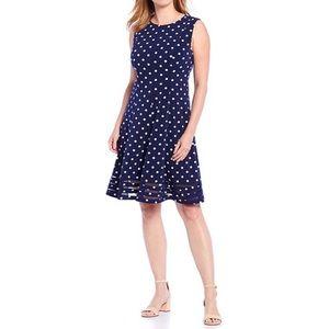 Polka Dot Illusion Hem A-Line Dress
